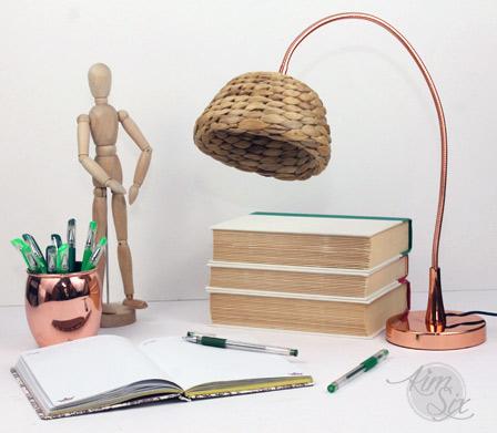 Desklamp shade from wicker basket