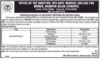 BPS Govt Medical College for Women - indgovtjobs