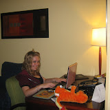 Meghan - her first night in Kentucky. (She just cant stay away from the computer!)