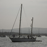 Yacht which had run aground on Stone Island near the entrance to Poole Harbour - 17 September 2014.  Photo credit: Poole/RNLI