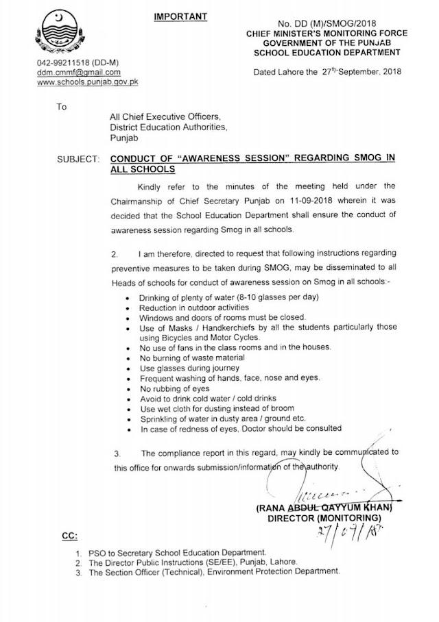 NOTIFICATION REGARDING CONDUCT OF AWARENESS SESSION REGARDING SMOG IN SCHOOLS