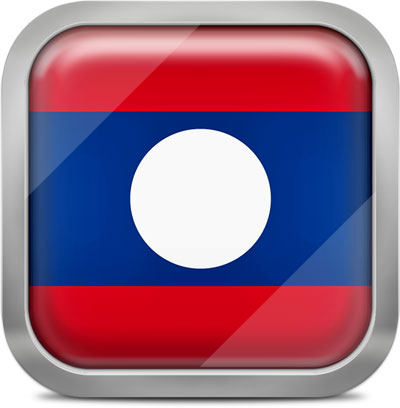 Laos square flag with metallic frame