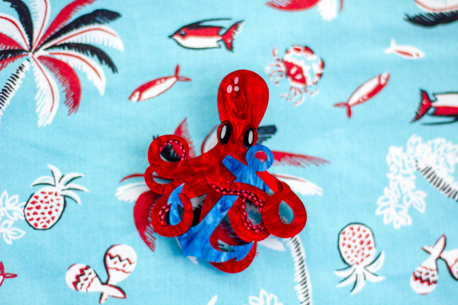 Deer Arrow Octopus brooch and Betty Page tropical print skirt | Lavender & Twill