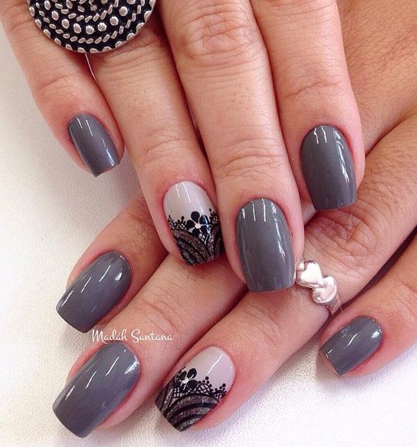 Winter Nail Designs Wine Grey Silver Black