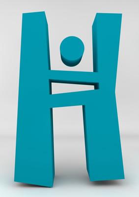 lettre 3D homme joker turquoise - H - images libres de droit