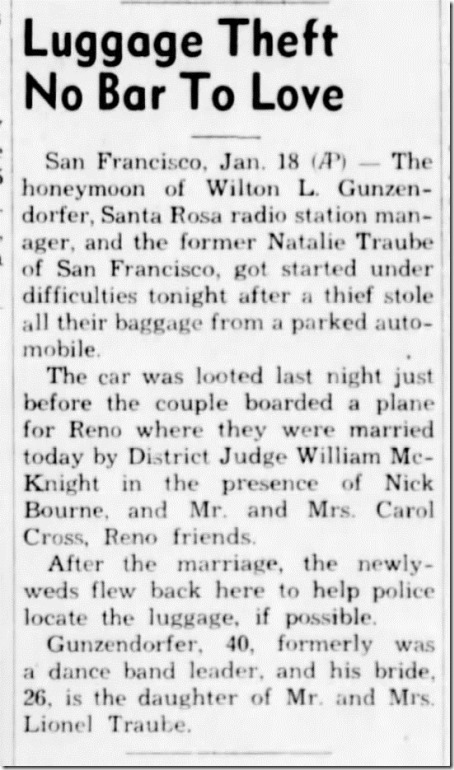 Luggage Stolen Santa Cruz Sentinel  19 Jan 1940
