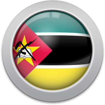 Mozambican flag icon with a silver frame