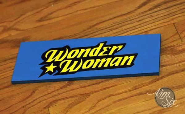 Painted wonder woman sign