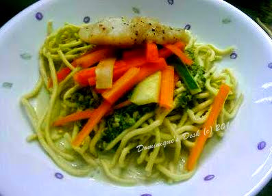 Spinach Noodles with Fish