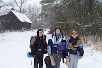 Heading out of camp ... with snow for a change at winter camp
