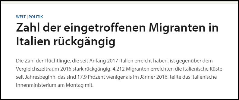 SN Migranten in Italien rückläufig