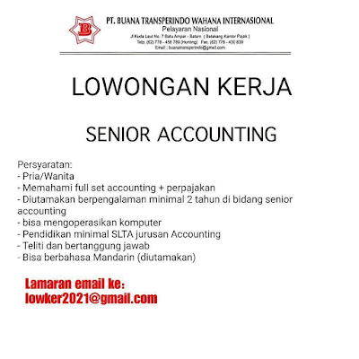 Dibutuhkan Senior Accounting PT. Buana Transperindo Wahana International
