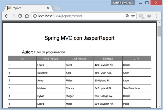 Reporte PDF generado con JasperReports en una aplicación web Spring MVC