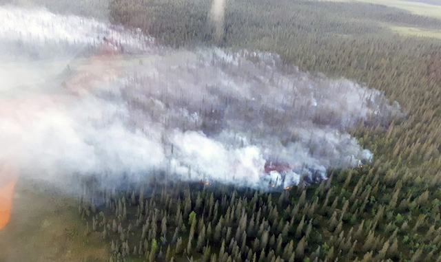 Aerial view of a forest fire in Kittilä, Finland on 18 July 2018. Photo: Lapin pelastuslaitos