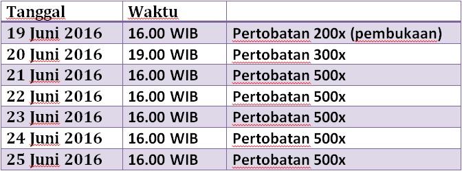 Jadwal Pertobatan