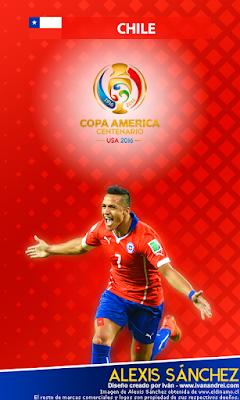 Wallpaper Copa América 2016 - Chile (Alexis Sánchez) - 480x800
