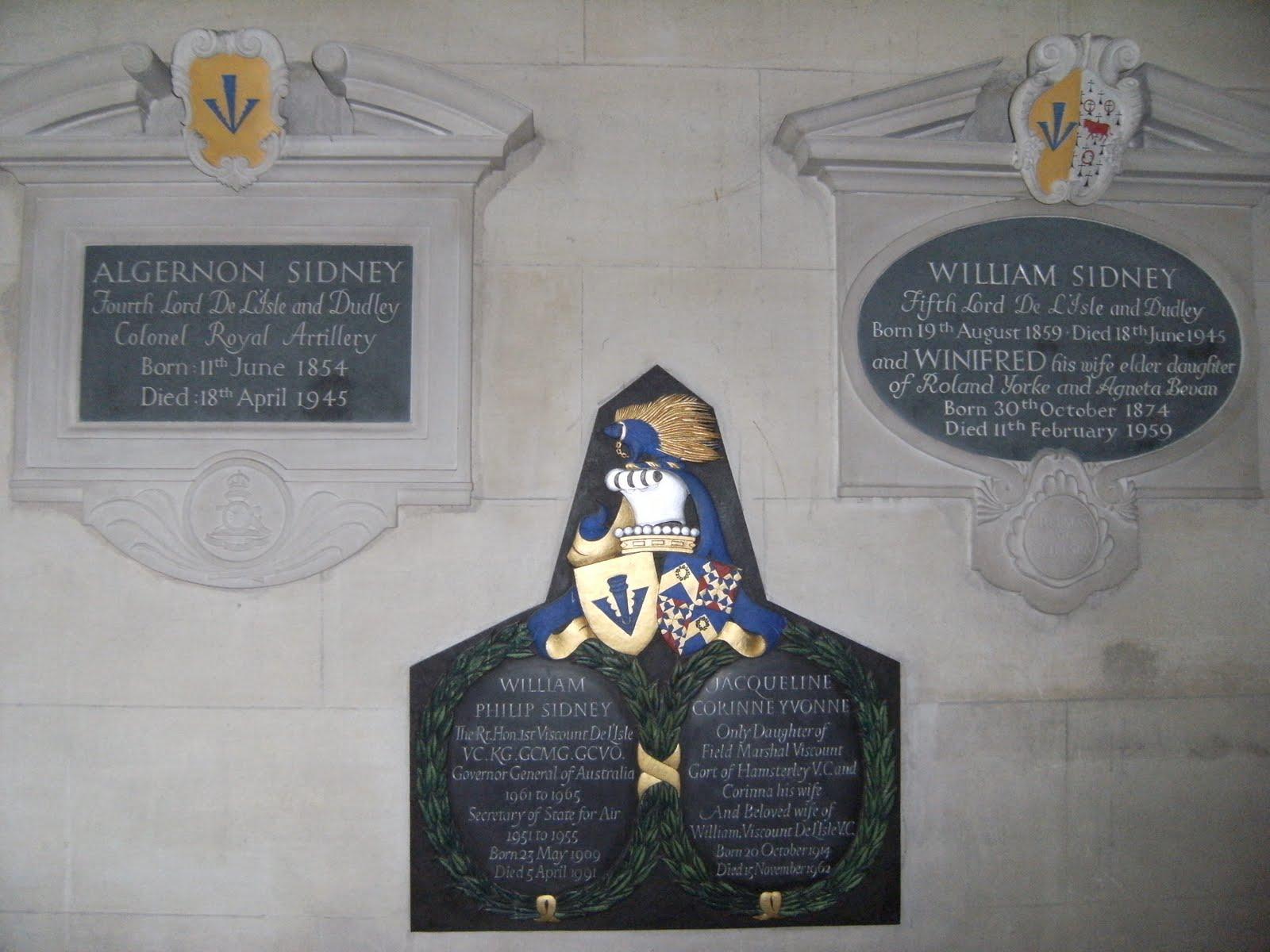 1006130027 Sidney Chapel memorials, St John the Baptist Church, Penshurst