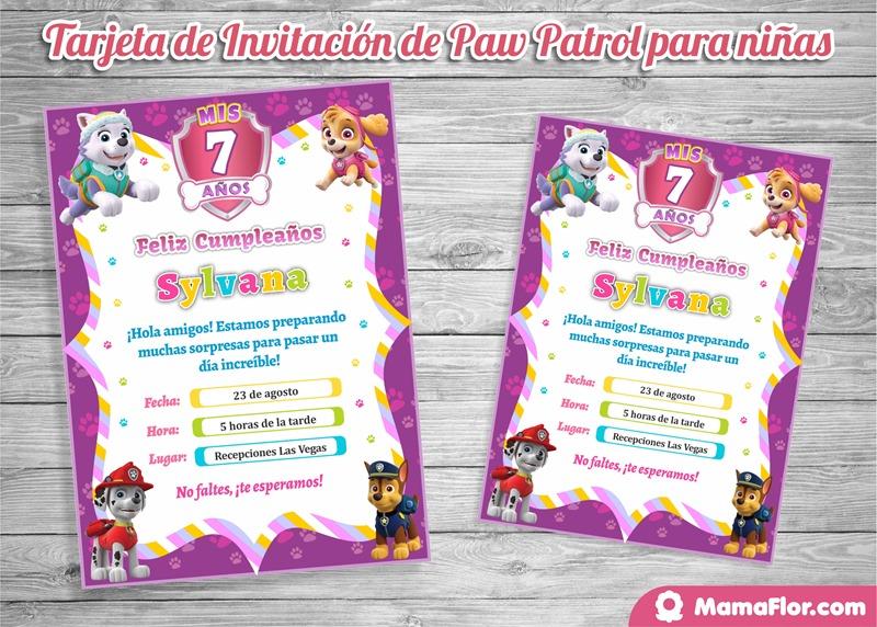 Paw Patrol: Invitaciones de Cumpleaños para Niñas