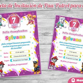 Invitaciones de Paw Patrol para Niñas: Tarjeta de Cumpleaños
