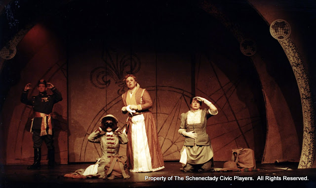 Colin McCarty, Eileen McCashion, Christine Boice Saplin and Rita Russell in ON THE VERGE - January/February 2000.  Property of The Schenectady Civic Players Theater Archive.