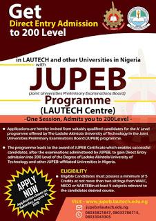 LAUTECH: A' Level JUPEB Programme For Candidates Seeking Admission Into 200Level