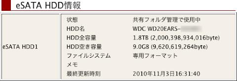 Time Machine削除前のNASの空き9.0GB