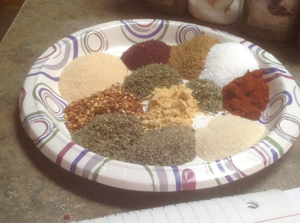 The majority of spices added to a large plate. Then blend together. I then...