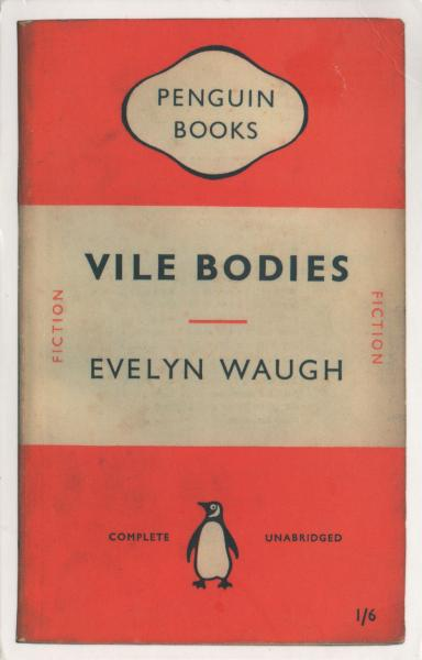 postcard showing orange penguin paperback book cover