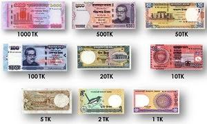 gamabar mata uang taka negara Bangladesh kertas