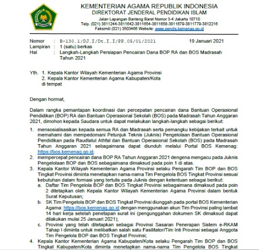 Tata Cara  Persiapan Pencairan Dana BOP RA dan BOS Madrasah Tahun 2021