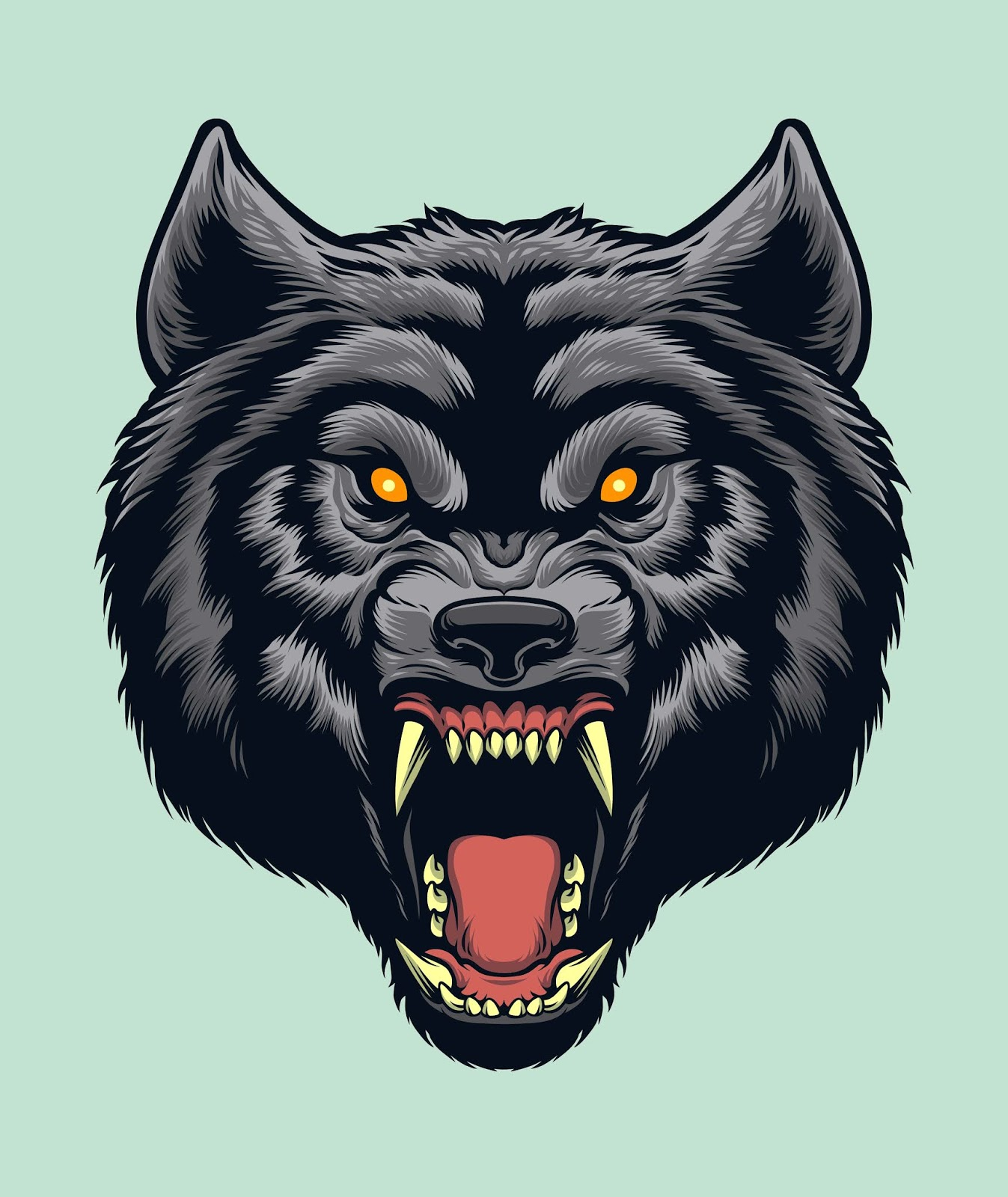 Angry Wolf Head Illustration Free Download Vector CDR, AI, EPS and PNG Formats