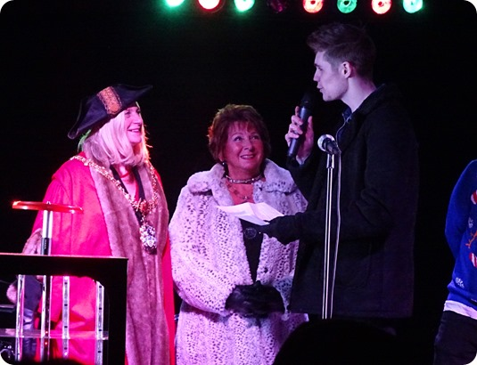 Compere Jonty Sargeant talks to Mayor of Crewe and  Mayoress of Crewe