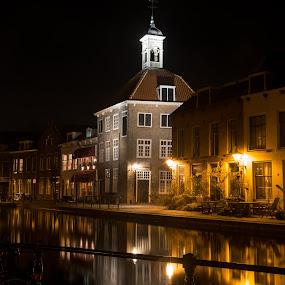 Schiedam by Night by Ton Hoelaars - City,  Street & Park  Historic Districts ( city lights, schiedam )