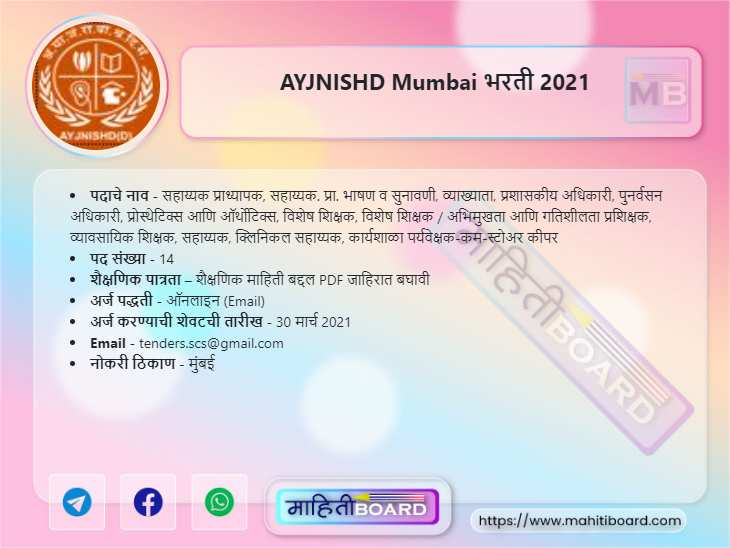 AYJNISHD Mumbai Recruitment 2021