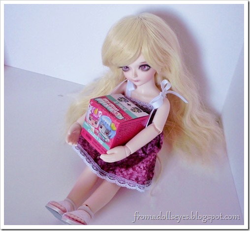 A ball jointed doll holding a My Mini Mixie Q's box.