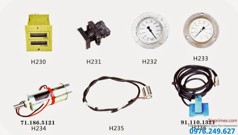 Báo giá linh kiện ngành in giá rẻ nhập khẩu chính hãng H230-236