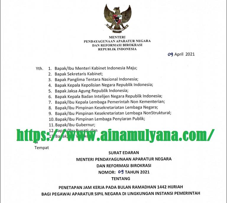 Surat Edaran (SE) Menpan Nomor 09 Tahun 2021 Tentang Jam Kerja ASN Pada Bulan Ramadhan 2021 (1442 Hijriah)
