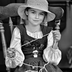 Young Mona Lisa by Dan Pham - Babies & Children Child Portraits ( handmade, young girl, cute, smile, renaissance fair )