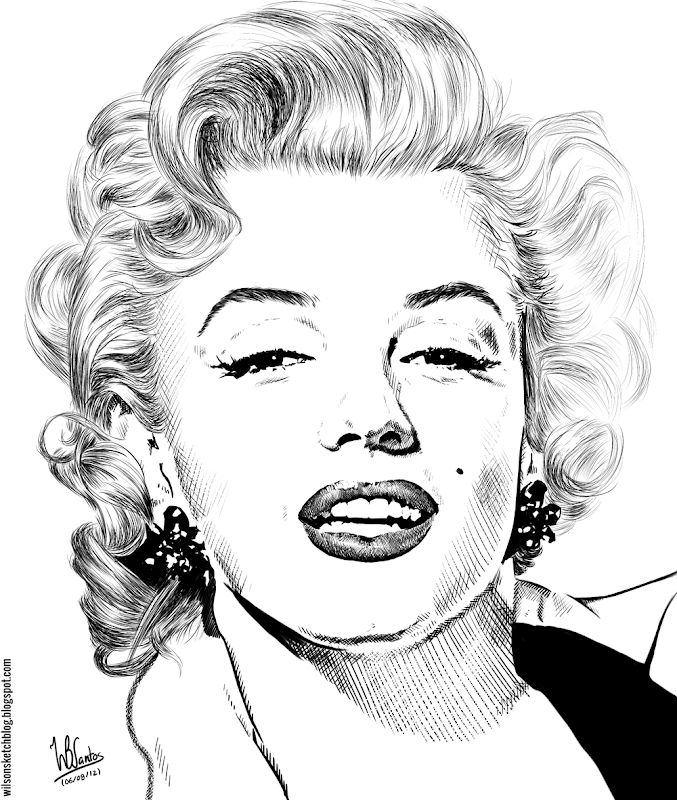 Ink drawing of Marilyn Monroe, using Krita 2.4.