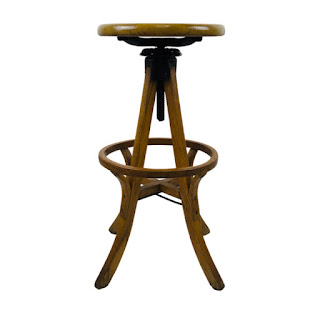 Vintage Oak Industrial Drafting Stool