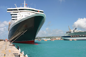 Queen Mary 2 docked in Barbados