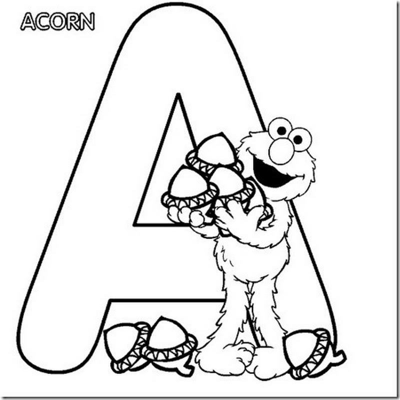 abecedario para colorear barrio sésamo