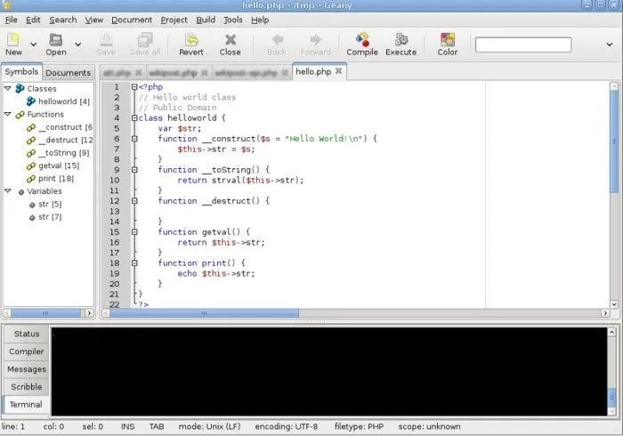 محررات النصوص Geany لنظام التشغيل Linux.