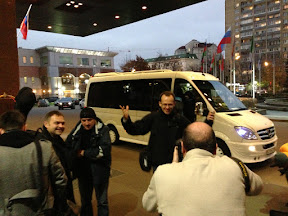 Arrival at the President Hotel in Moscow