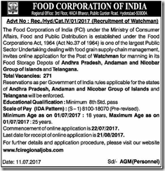 FCI Hyderabad Watchman Notification 2017 www.indgovtjobs.in