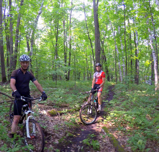 Todd Nesvold and Ben Olson on the trail Thursday morning