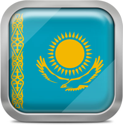 Kazakhstan square flag with metallic frame