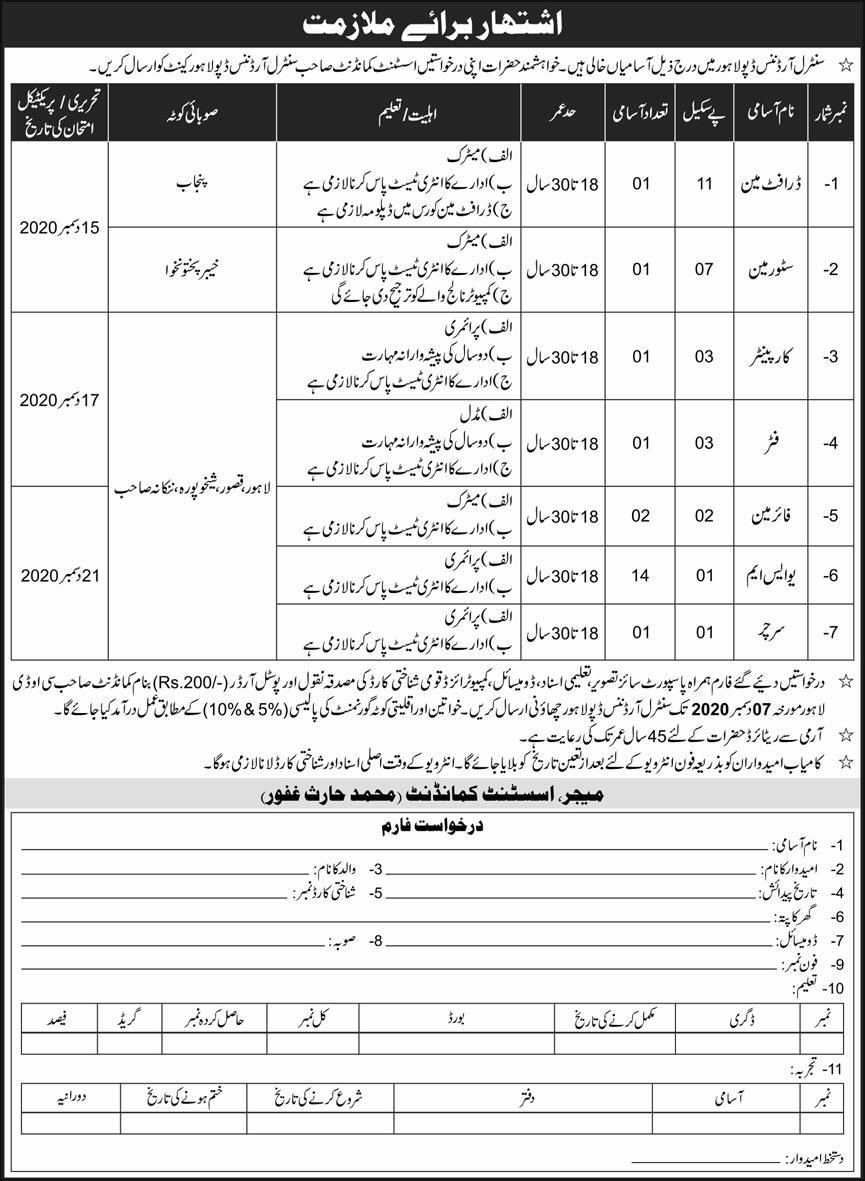 Central Ordnance Depot COD Lahore Cantt Jobs