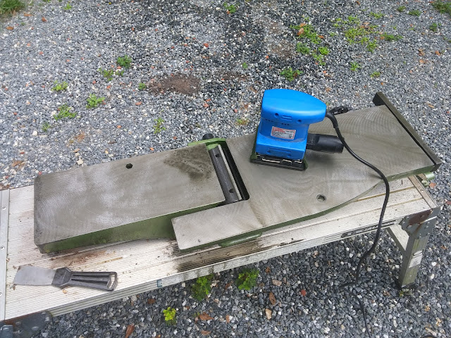 Removing Rust Using A Scotch-Brite Pad And A 1/4-sheet Sander