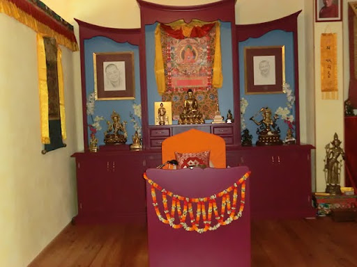 The new altar at Tara Mandala in Landau, Germany, 2011. Notice it's unique shape and design not typically found in Tibetan Buddhist altars. Photo by Dieter Kratzer.